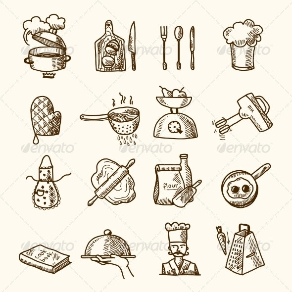 Cooking Icons Sketch - Food Objects