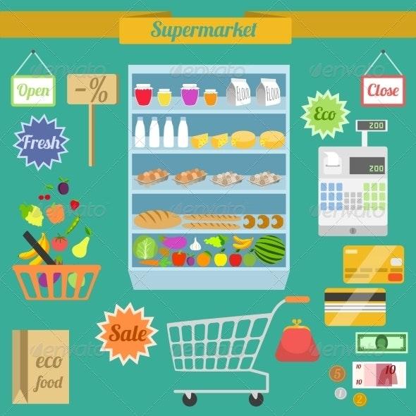 Supermarket Flat Set - Retail Commercial / Shopping