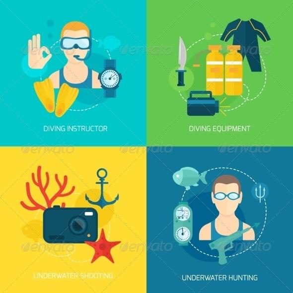 Diving Icons Composition - Sports/Activity Conceptual