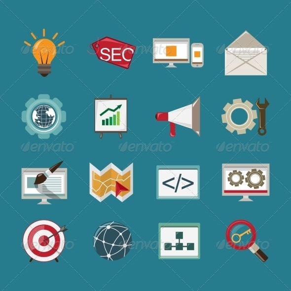 SEO Icons Set - Web Technology