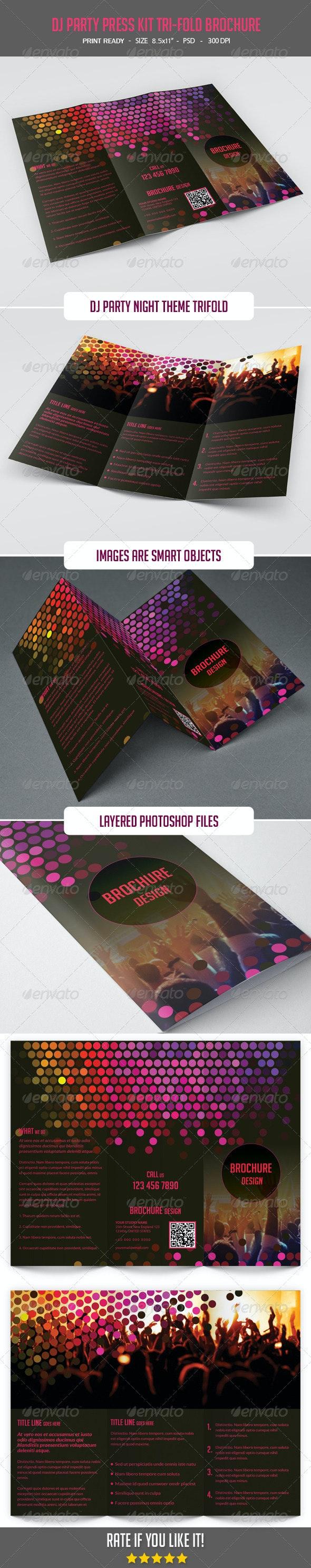 DJ Party Press Kit Tri-Fold Brochure - Brochures Print Templates