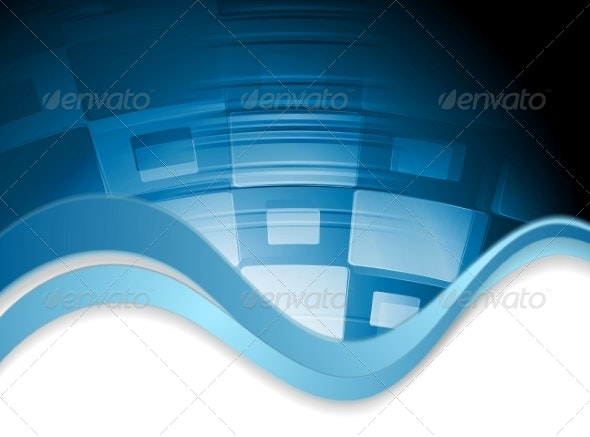 Abstract Wavy Tech Background - Web Technology