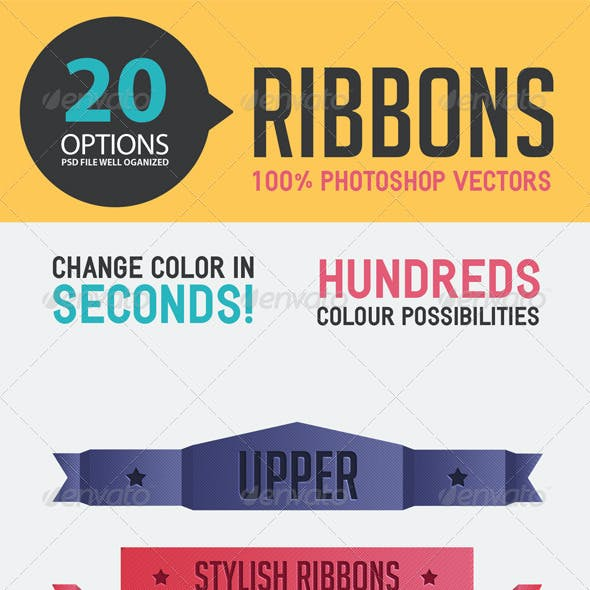 20 Ribbons Easy to Edit in Shape Layers