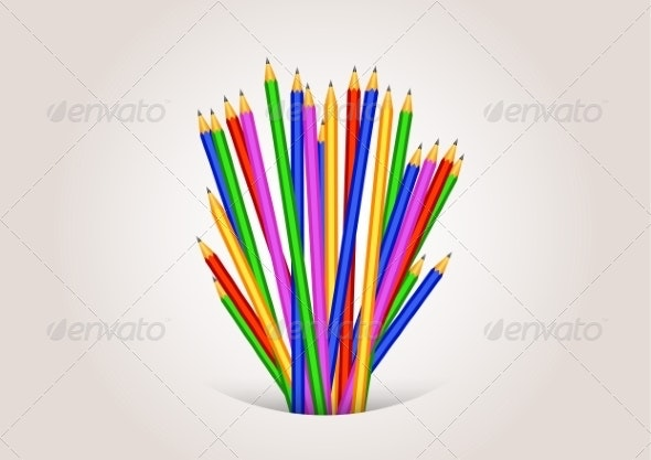 Back to School Background Formed with Pencils - Backgrounds Decorative