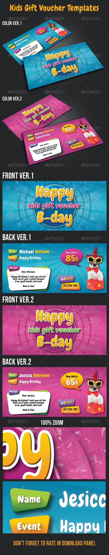 Kids Birthday Gift Voucher V05 - Cards & Invites Print Templates