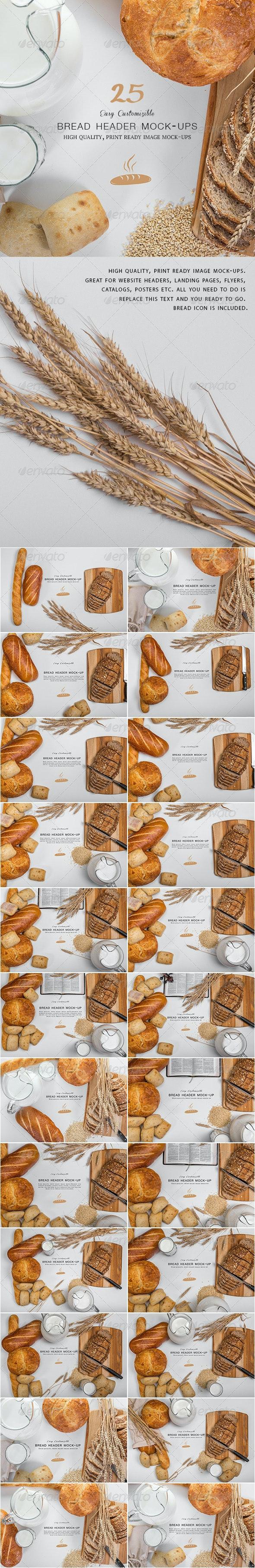 Bread Header Mock-ups - Hero Images Graphics