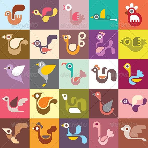 Birds Vector Wallpaper - Animals Characters