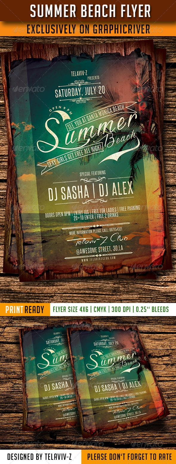 Summer Beach Flyer Template - Clubs & Parties Events