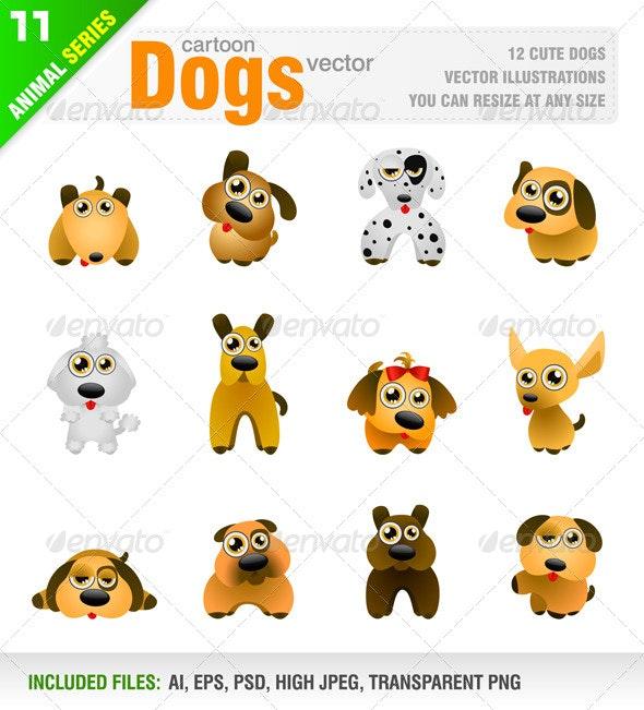 12 Cartoon Dogs - Animals Characters