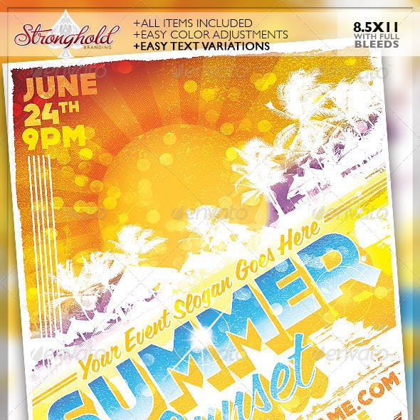 Summer Sunset Event Party Flyer Template