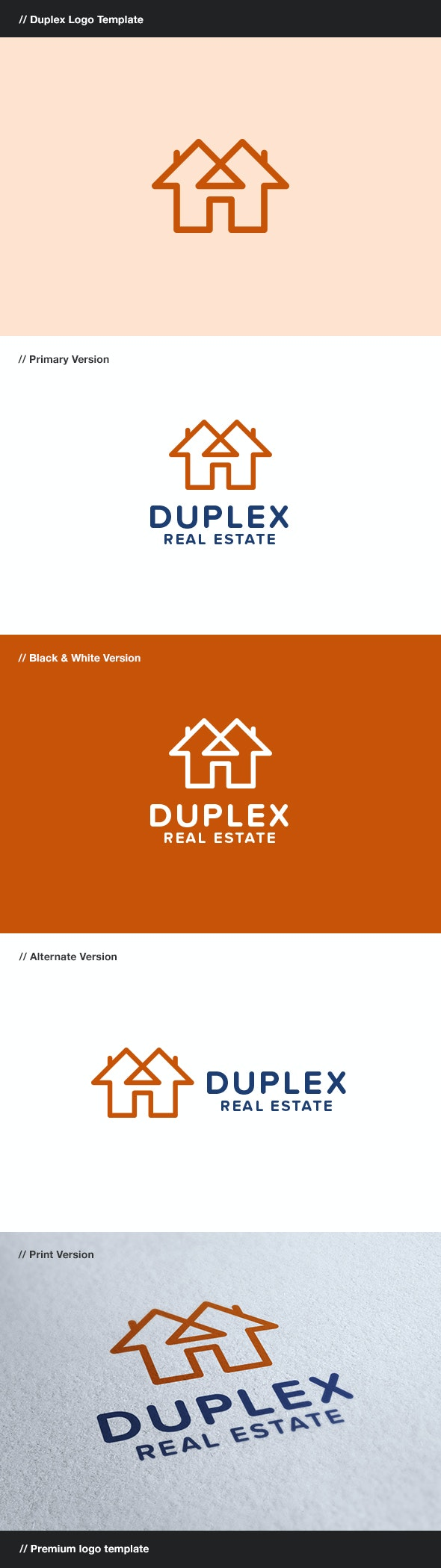 Duplex - Construction & Real Estate Logo - Buildings Logo Templates