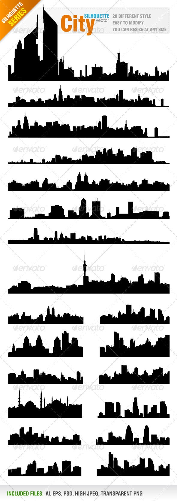 Skylines / Cityscapes Vector - Buildings Objects