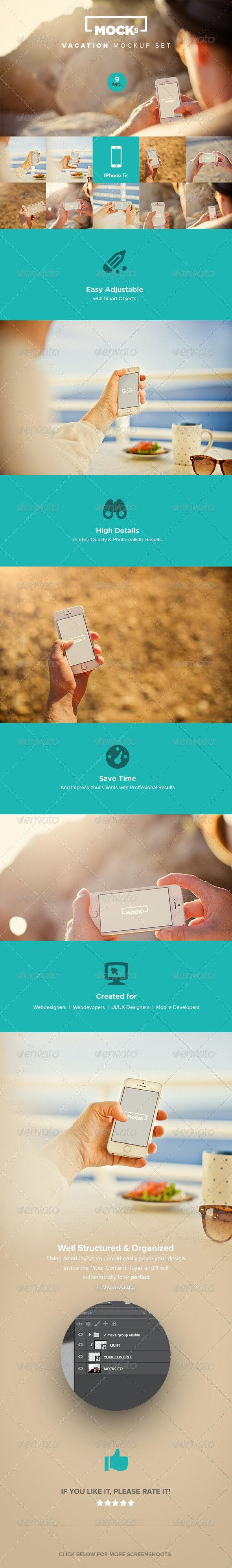 Photorealistic iPhone Mockup Templates - Mobile Displays