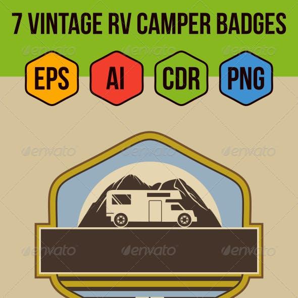 7 Vintage RV Camper Badges