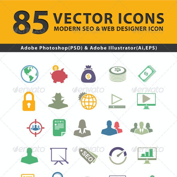 85 Modern SEO Services Icons