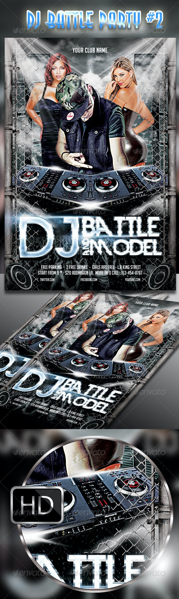 DJ Battle and Model Party Flyer - Clubs & Parties Events