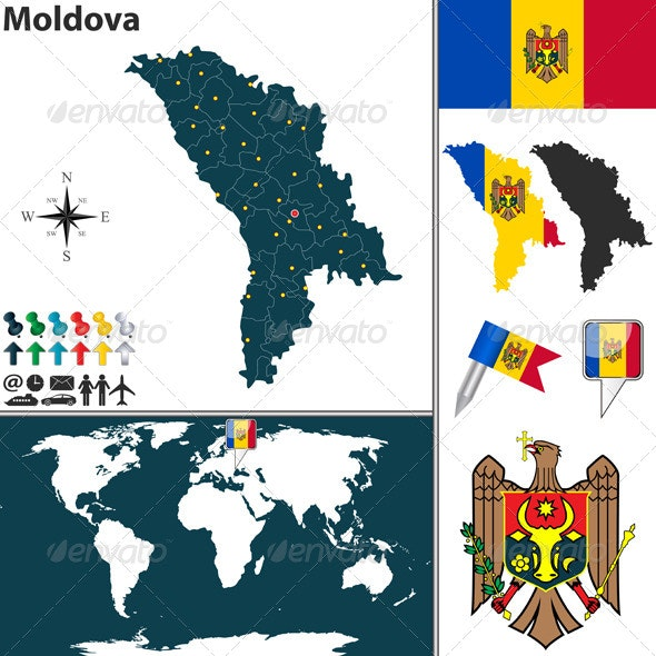Map of Moldova - Travel Conceptual
