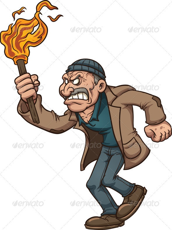 Angry Man with Torch - Characters Vectors