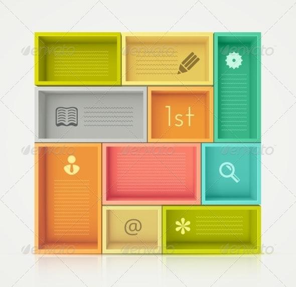 Colorful Shelves for Design - Web Elements Vectors