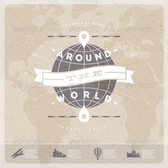 Around the World - Travel Vintage Type Design - Travel Conceptual
