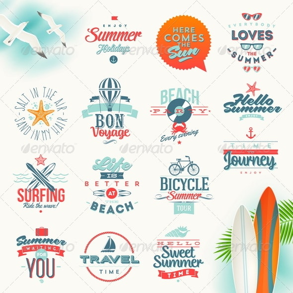 Set of Travel and Summer Vacation Type Design - Travel Conceptual