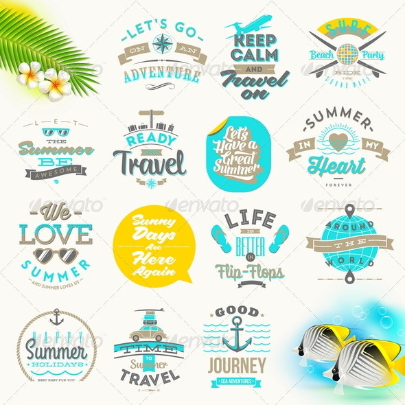 Set of Summer Vacation and Travel Type Design - Travel Conceptual