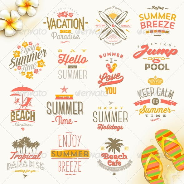 Set of Summer Vacation and Travel Type Design