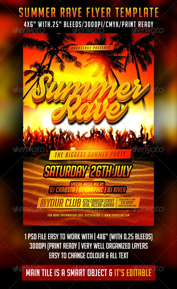 Summer Rave Flyer Template - Clubs & Parties Events