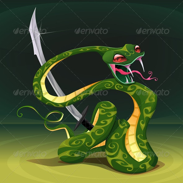 Poisonous Snake with Saber. - Animals Characters