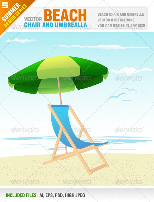Beach Chair and Umbrella - Travel Conceptual