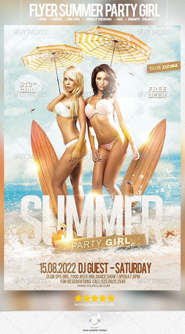 Flyer Summer Party Girl - Clubs & Parties Events