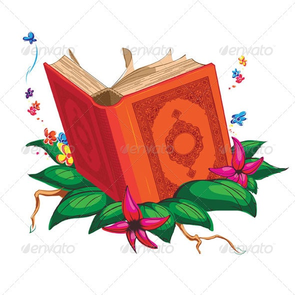 Holy Book on Leaves Surrounded with Flowers - Religion Conceptual