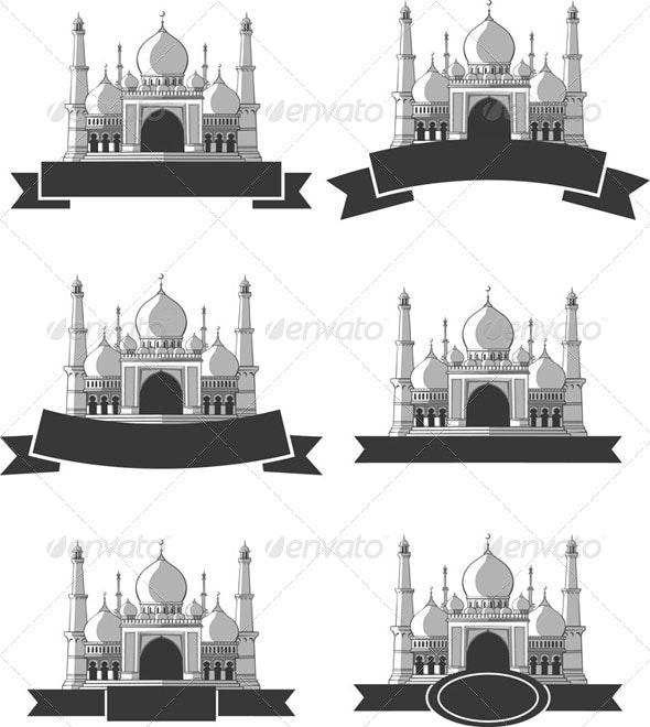 Ramadan & Eid Mubarak Greeting - Masjid Banner - Religion Conceptual