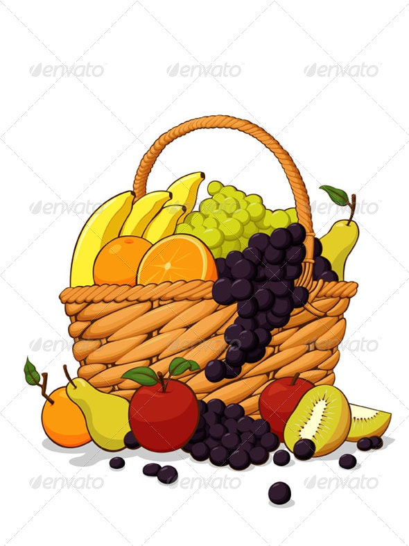 Variety of Fresh Fruits in The Wooden Basket - Food Objects