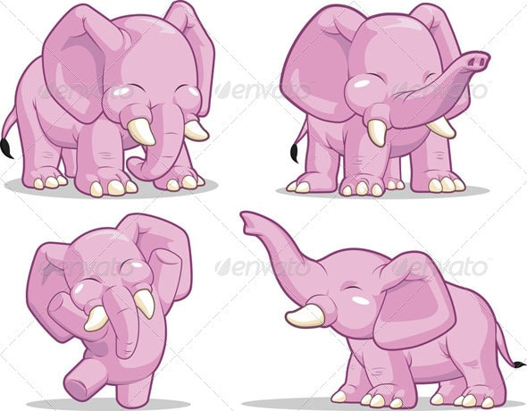 Elephant in Several Poses - Animals Characters