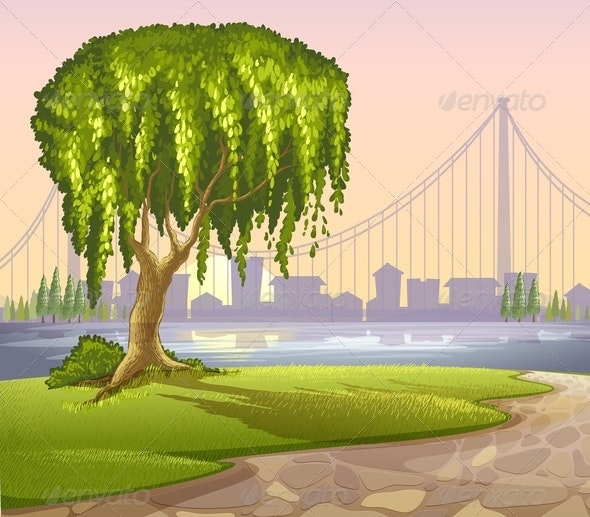 Tree with High Buildings Background - Landscapes Nature