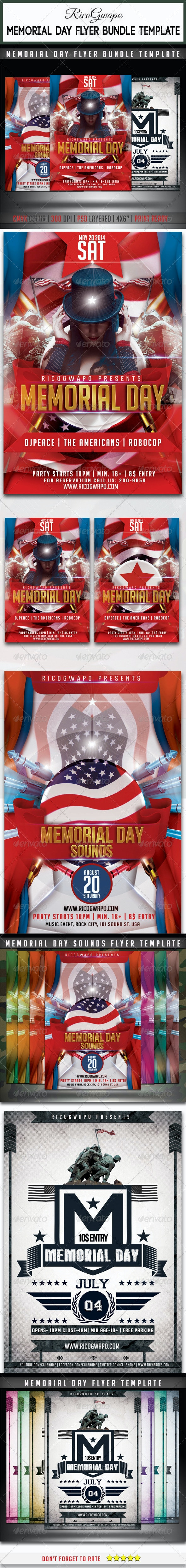 Memorial Day Flyer Bundle Templates - Events Flyers