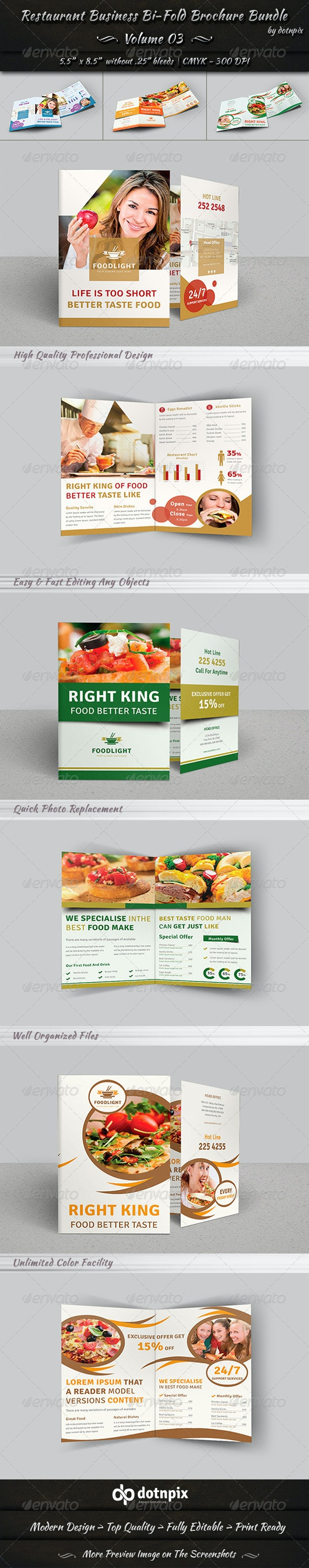 Restaurant Bi-Fold Brochure Bundle | Volume 3 - Corporate Brochures