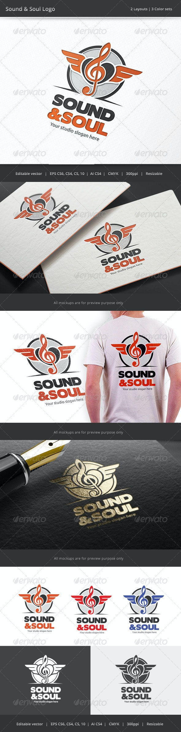Sound & Soul Music Logo - Vector Abstract