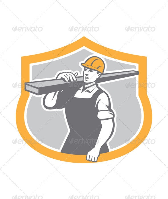 Carpenter Carry Lumber Shield Retro - People Characters