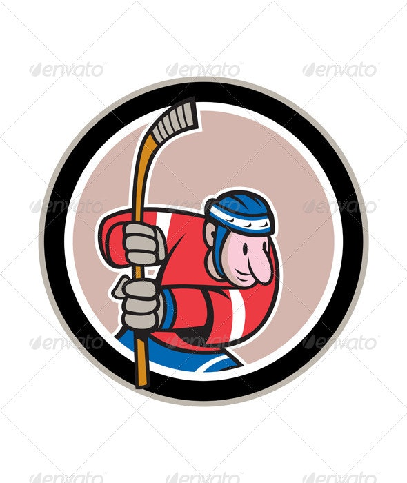Field Hockey Player With Stick Cartoon - Sports/Activity Conceptual