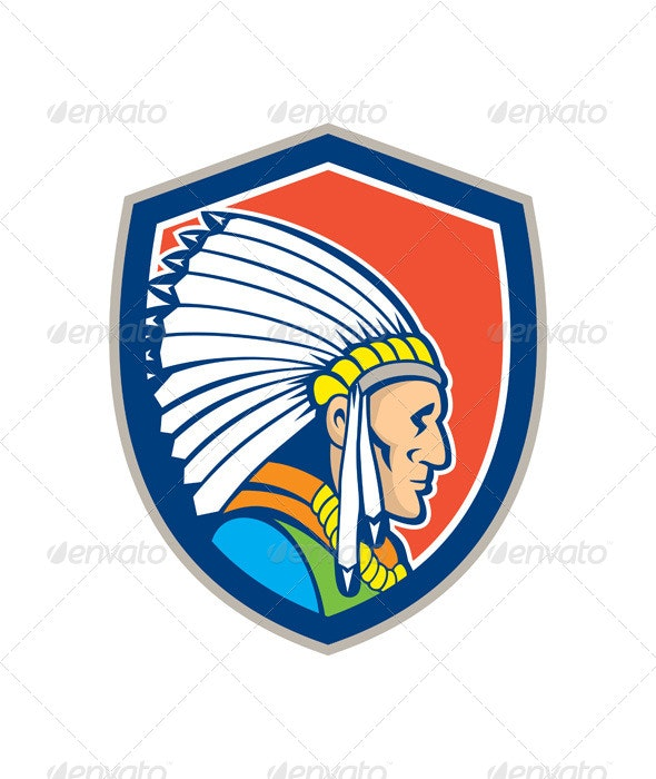 Native American Indian Chief Cartoon - People Characters