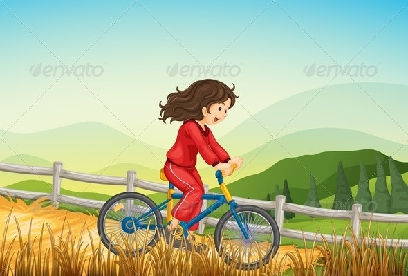 A Girl Biking at the Farm  - People Characters