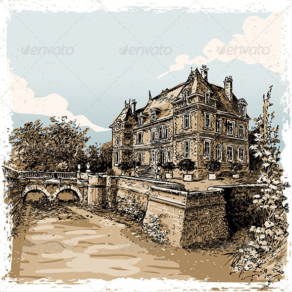 Vintage View of Chateau de Rosay, France - Buildings Objects