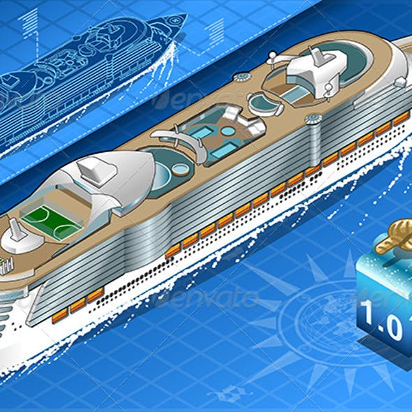 Isometric Cruise Ship in Navigation in Rear View