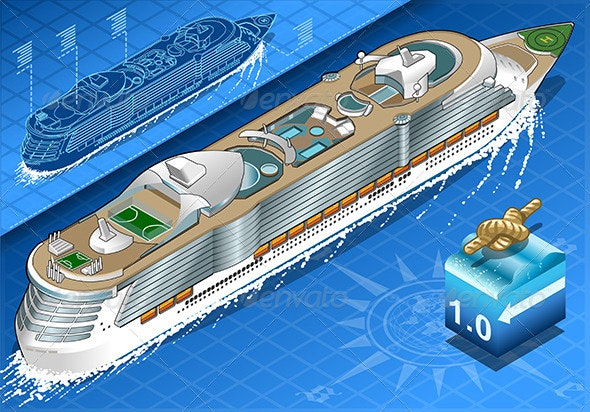 Isometric Cruise Ship in Navigation in Rear View - Objects Vectors