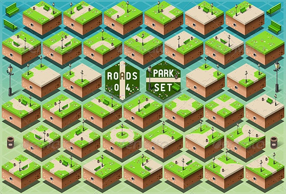 Isometric Roads on Green City Park - Buildings Objects