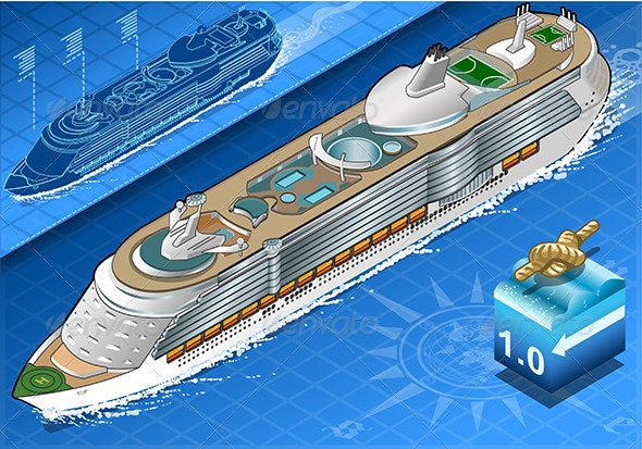 Isometric Cruise Ship in Navigation in Front View - Objects Vectors