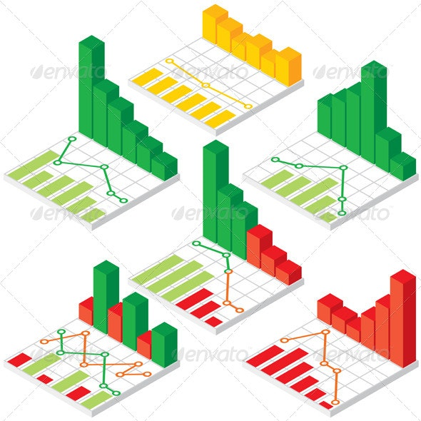 Set of Isometric Chart and Graph Icons - Concepts Business