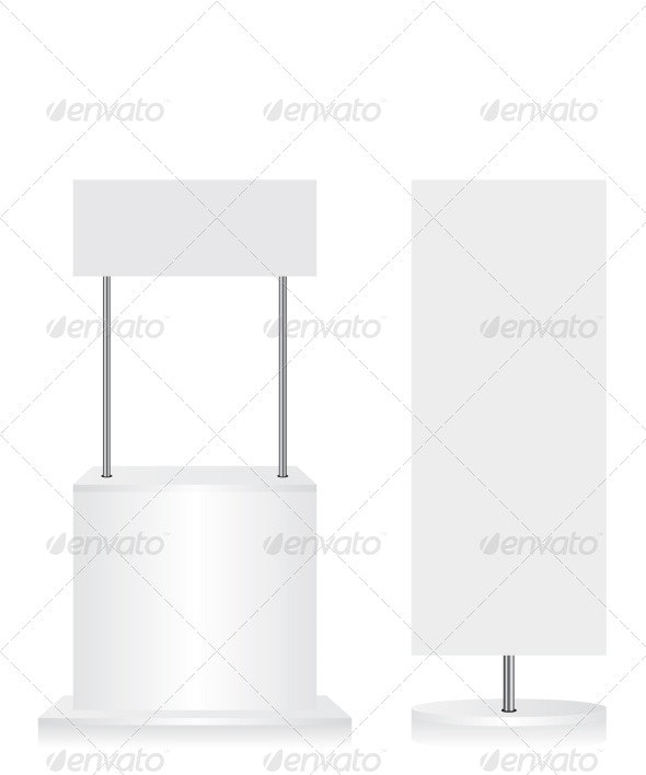 Promotion Counter and Flag on White Background - Concepts Business